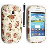 SAMSUNG GALAXY FAME S6810 SILICONE SILIKON CASE SKIN GEL TPU Hülle COVER + STYLUS BY GSDSTYLEYOURMOBILE {TM} (Roses on White)