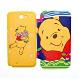 SilverCon - Disney Winnie the Pooh Style Replacement Battery Cover Plastic Back Housing Door with Flip Cover for Samsung Galaxy Note 2 II N7100 + SilverCon Universal Cable Tie