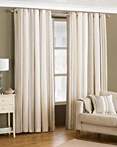 Davenport Beige Cream 66x72 Striped Lined Ring Top Curtains #yawdaorb *riv* by PCJ Supplies