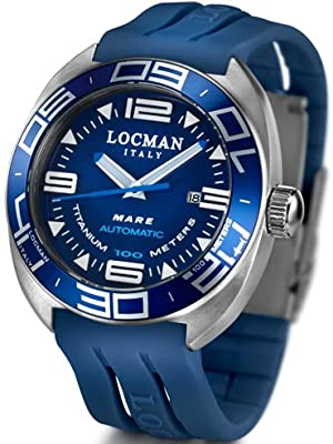 Locman Mens Mare Automatic Water Resistant Watch Blue 139BL