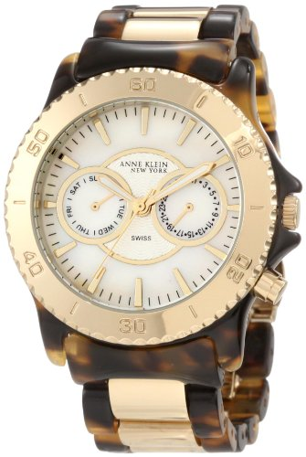 Anne Klein New York Women's 122024WMTO Multi-Function and Gold-Tone Tortoise Resin Bracelet Watch - Save: 67%