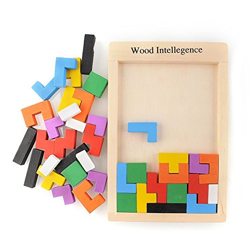 Wooden Colorful Tangram Brain Teaser Puzzle Tetris Game Educational Baby Kid Toy