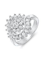 Mahi CZ Collection White Rhodium Plated CZ Stones Finger Ring For Woman - B00GIGYYZM