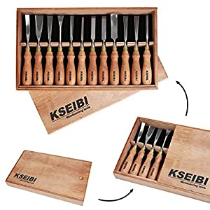 KSEIBI 312141 Industrial Wood Carving Tools Woodworking Kits For Beginners Through To Professionals Chisel Gouge W/ 12 Pieces Premium Ash Wood Handle In Wooden Box Hand Tools For Woodworking (Color: Brown, Tamaño: 12Pieces)