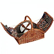 Woven Willow Picnic Basket Square Shaped Fully Lined Service for 4