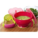 Nuby Garden Fresh Steam N' Mash Baby Food Prep Bowl and Food Masher (Colors may vary)