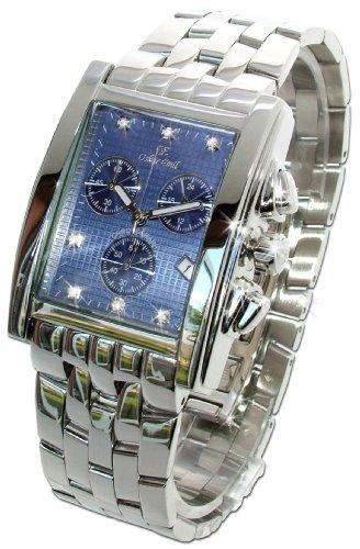 Oskar Emil Rodez Limited Edition Steel 7 Diamond Mens Chronograph Watch