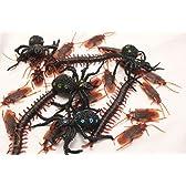 害虫 フェイク ゴキブリ ムカデ クモ ドッキリ おもしろ ジョーク パーティー グッズ 大量 セット (ゴキ30ムカ5 蜘蛛 2)