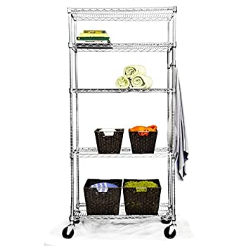 TRINITY EcoStorage 5-Tier NSF Wire Shelving Rack with Wheels, 36 by 18 by 72-Inch, Chrome