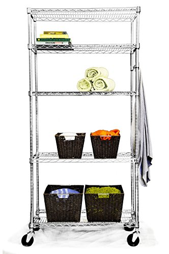 TRINITY EcoStorage 5-Tier NSF Wire Shelving Rack with Wheels, 36 by 18 by 72-Inch, Chrome (Steel Freestanding Shelving compare prices)