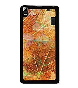 Fuson Premium 2D Back Case Cover Leaf pattern With blue Background Degined For Lenovo K3 Note