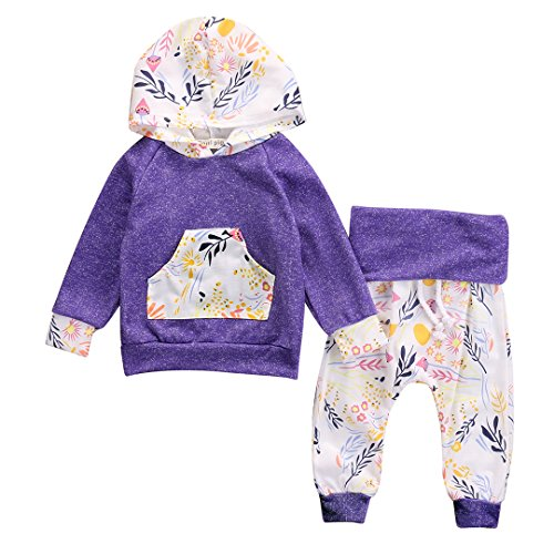 Newborn Baby Girls Floral Hooded Top + Pants Outfits Set Kids Clothes (3-6M, Pueple)