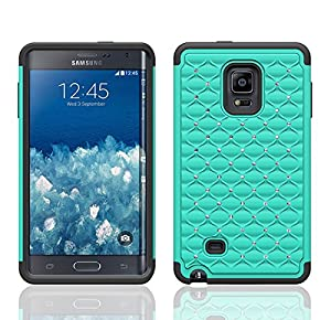 Galaxy Wireless Diamond Hybrid Case for Samsung Galaxy Note Edge (At&t, Verizon, T-Mobile & Sprint) (TEAL ON BLACK DIAMOND HYBRID)
