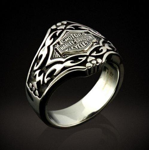 Harley-Davidson® Stamper® Men's Stainless Steel Gothic Pattern Ring. STR6786