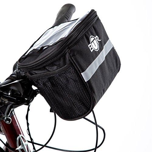 Wasserabweisende-BTR-Fahrradtasche-und-Handyhalterung-mit-durchsichtigem-PVC-Fenster-fr-Tablet-oder-Handy-zur-Befestigung-am-Lenker-bzw-Steuer-oder-Oberrohr-fr-Karten-und-Navigationssysteme