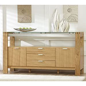 arturo solid oak glass sideboard pt29721. Black Bedroom Furniture Sets. Home Design Ideas