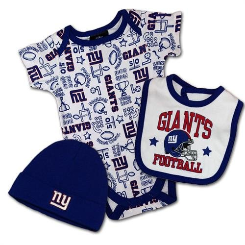 Nfl New York Giants Boy'S Bodysuit, Bib, Cap Set, 0-3 Months, Blue front-249112