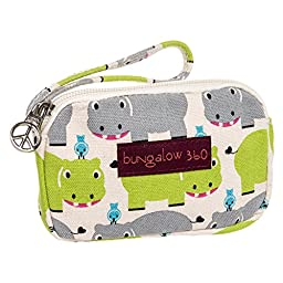 Bungalow360 Womens Canvas Coin Pouch Wallet (Hippo)