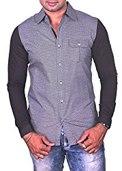 Equipoise Men's Cotton Casual Shirt (EQ-03 XL/44_Grey_XL)