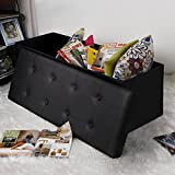 "Songmics Faux Leather Folding Storage Ottoman Toy Chest Tunk Black 43 1/4""L ULSF701"
