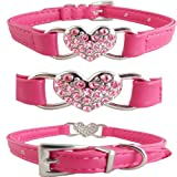 "WwWSuppliers Adjustable Hot Pink PU Leather Bling Heart Rhinestones Fashion Collar for Dogs, Puppies, Cats or Kittens (SMALL 7 1/2""- 10 1/2"")"