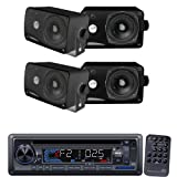 Pyle Marine Radio Receiver and Speaker Package - PLCD33MR AM/FM-MPX IN-Dash Marine CD/MP3 Player/USB & SD Card Function - 2x PLMR24B 2 Pairs of 3.5