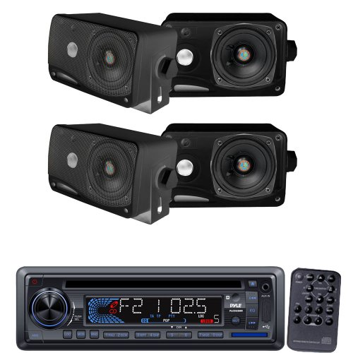 Pyle Marine Radio Receiver And Speaker Package - Plcd33Mr Am/Fm-Mpx In-Dash Marine Cd/Mp3 Player/Usb & Sd Card Function - 2X Plmr24B 2 Pairs Of 3.5'' 200 Watt 3-Way Weather / Water Proof Mini Box Speaker System