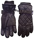 NIce Caps Boys Thinsulate and Waterproof Quilted Ski Glove (4-5yrs, Black)