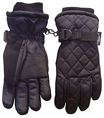N'Ice Caps Boys Thinsulate and Waterproof Quilted Ski Glove (10-12yrs, Black)