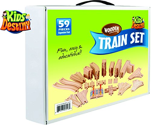 Wooden Train Track 59 Piece Pack - 100% Compatible with All Major Brands Including Thomas Train Wooden Railway System - By Kids Destiny