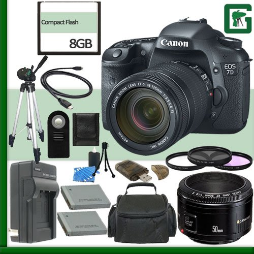 Canon EOS 7D Digital SLR Camera Kit with 18-135mm IS Lens and Canon 50mm f/1.8 Lens + 8GB Green's Camera Package 2 (Cf Card 8gb Canon 7d compare prices)
