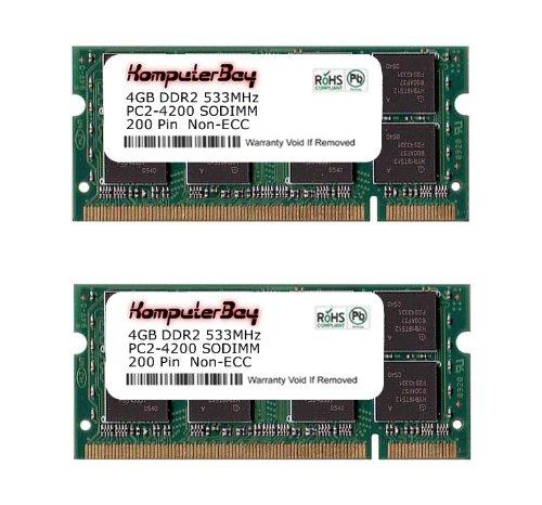 Komputerbay 8GB 2X 4GB DDR2 533MHz PC2-4200 PC2-4300 DDR2 533 (200 PIN) SODIMM Laptop Memory