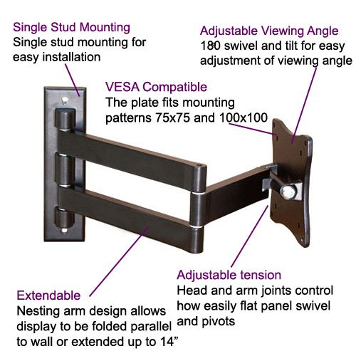 Imagen de VideoSecu articulación TV de montaje en pared VESA 100 Soporte para LCD LED Monitor de pantalla plana TV 1E9