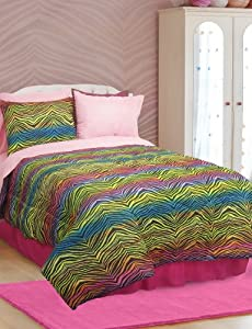 Veratex Rainbow Zebra Queen Size 4-Piece Comforter Set
