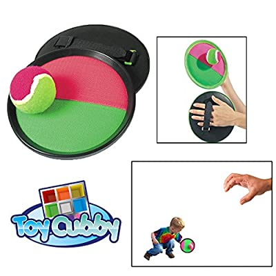 "Toy CubbyVelcro ball Paddle Catch and Toss Game Set- 7"" Handheld Stick Disc - 1 Set by Toy Cubby"