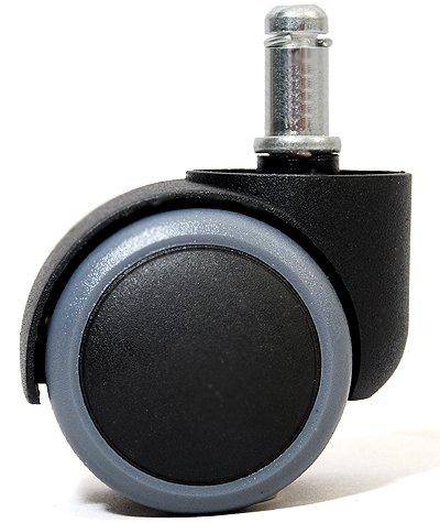 """Polyurethane Office Chair Caster Wheels for Hardwood Floors - Standard Stem Diameter: 7/16"""", Stem Length: 7/8"""" - Set of 5 - Gray Edge"""