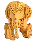 Made with Wooden Material Elephant Family Statue Big in Fine Work by Bharat Haat BH00571