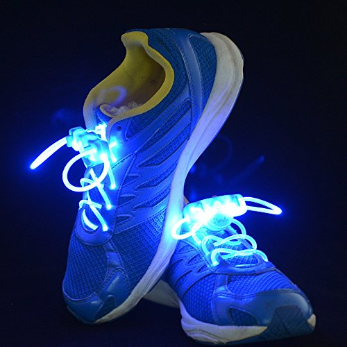 2.6Ft The 2Rd Generation Waterproof Led Flashing Light Up Shoe Laces Lighting 1 Pair-(Blue)