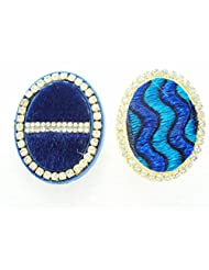 Designer Saree Pin Brooch, Oval Shaped, Designer Fabric & Stone Stud, Set Of Two Pieces