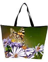 Snoogg Butterfly In Purple Flower Designer Waterproof Bag Made Of High Strength Nylon