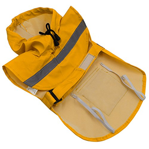Hunderegenmantel, PETBABA Reflektierend Wasserdicht Hune Regenjacke mit Kapuze für Hunde Gelb XL -