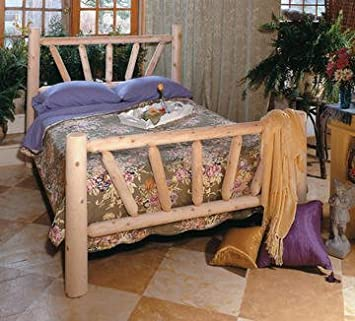 """82"""" Handcrafted Cedar Log Style Wooden Sunrise Queen Bed Frame"""