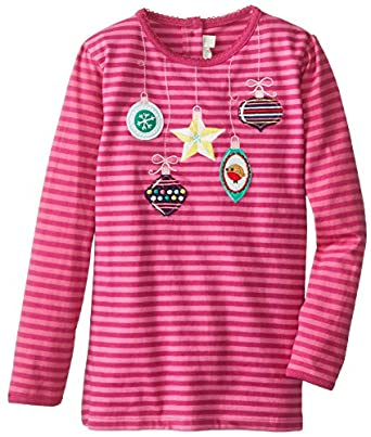 JoJo Maman Bebe Baby-Girls Infant Bauble Top, Raspberry/Fuchsia Stripe, 18-24 Months