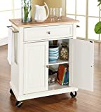 Crosley Furniture Natural Wood Top Portable Kitchen Cart/Island in White Finish