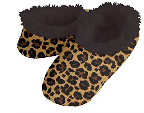 Snoozies! Leopard Women's Sherpa Footcoverings (Medium, Brown With Black Lining)
