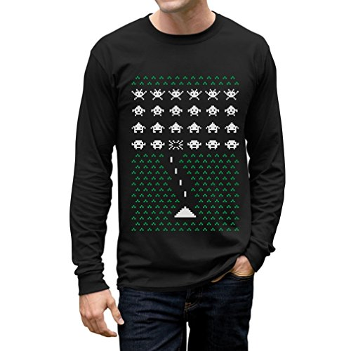 Mens Space Invaders Geeky Ugly Christmas Sweater - 5 Colors - S to XXL