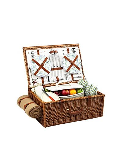 Picnic at Ascot Dorset Basket For 4 with Blanket, Olive/Tweed