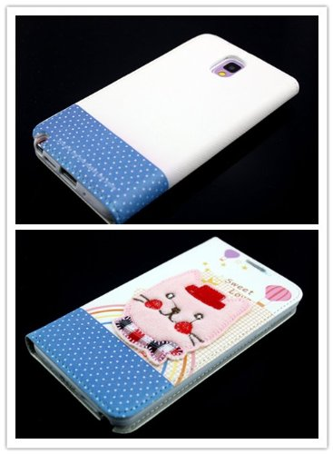 Big Dragonfly New Arrivals Eco Skin Cute 3D Pattern Folio Pu Leather Case With Cover For Samsung Galaxy Note 3 Iii With Built-In Stand, Card Slots And Two Tiny Suction Cups Retail Package(Pink Cat Smile & Happy)White & Blue front-905828