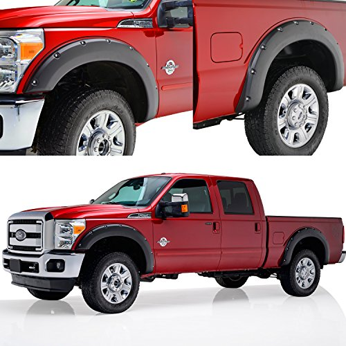 E-Autogrilles 4pcs Front & Rear Pocket Rivet Style Fender Flares for 11-16 Ford F-250/F-350 Super Duty (18292) (2013 F250 Fender Flares compare prices)