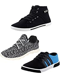 STYLIVO Combo Of 3 Men's Canvas Black Casual Shoes, Black_White Casual Shoes And Black_Sky Blue Sneakers Shoes